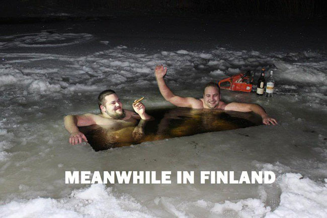 Finns enjoying a quiet evening in a frozen lake